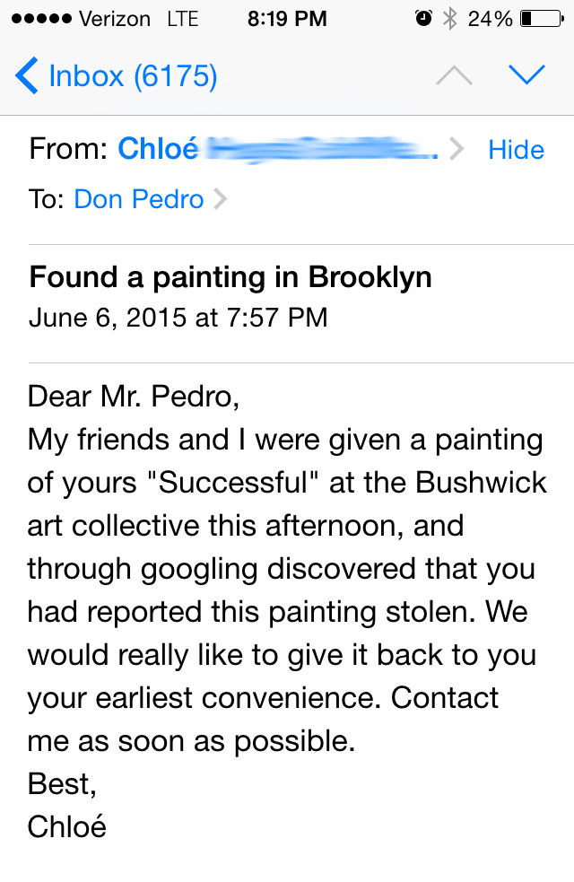 The message Don Pablo Pedro received.