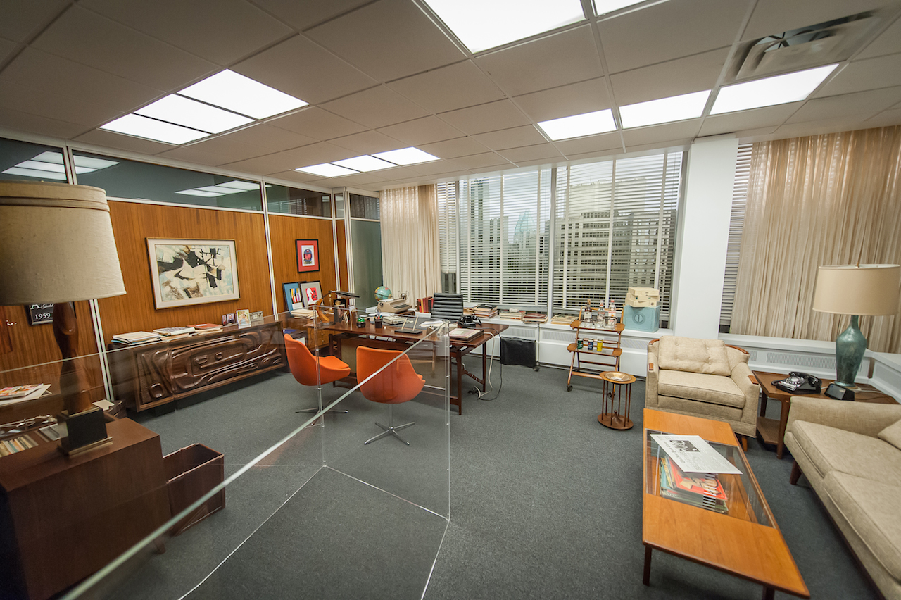 """New York - March 10, 2015. At the Museum of the Moving Image press preview for the exhibition """"Matthew Weiner's Mad Men."""" The set for Don Draper's office, featured in seasons 4-6 of """"Mad Men."""" Photo: Thanassi Karageorgiou / Museum of the Moving Image."""