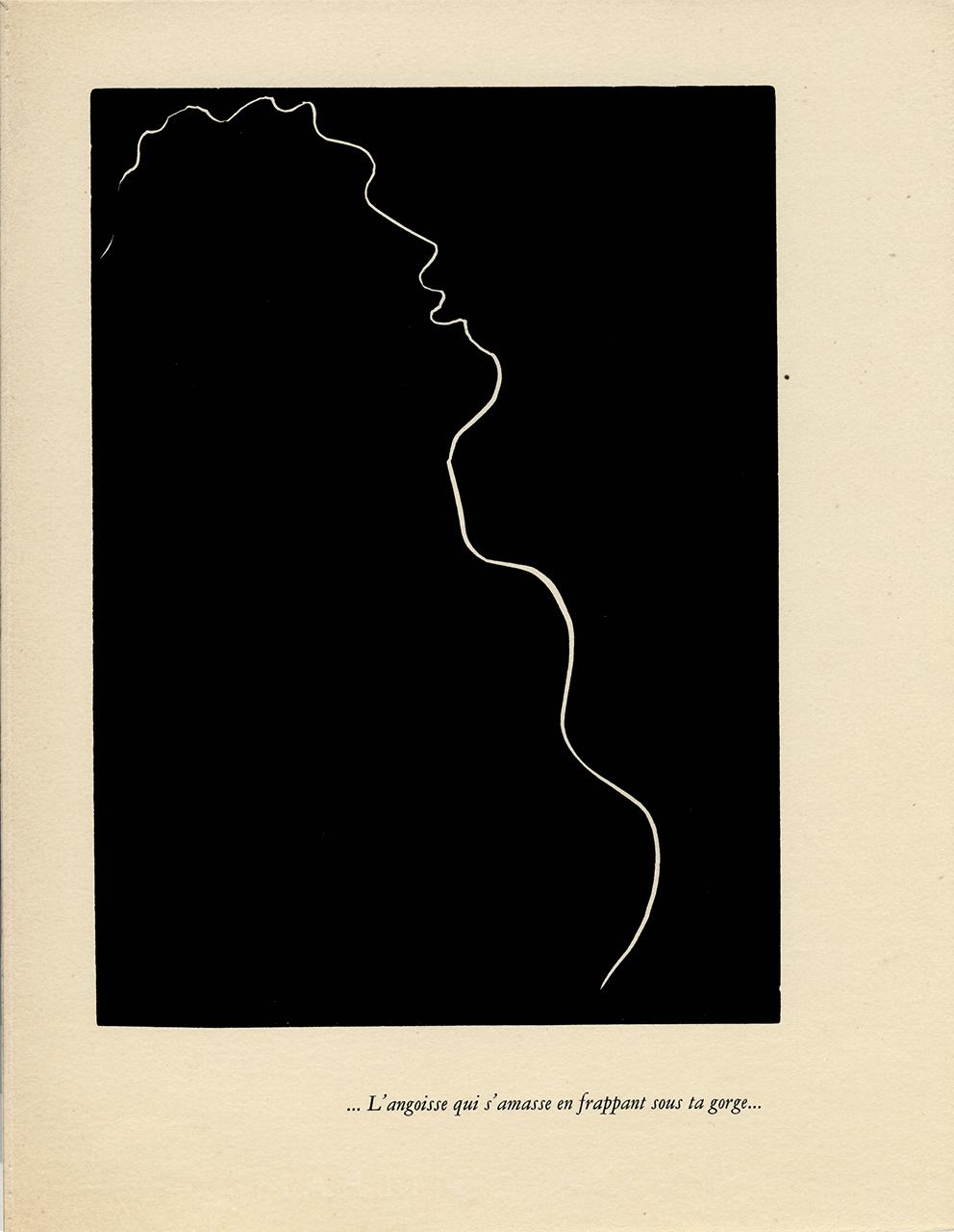 "Henry Matisse Henry de MontherlantPasiphaé, Chant de Minos (Les Crétois) (Pasiphaé, Song of Minos [The Cretans])Paris: Martin Fabiani, 1944Number 17 of 250 copies...L'angoisse qui s'amasse en frappant sous ta gorge...(The Fear Which Grows and Sticks in Your Throat)Linocut on vélin d'Arches filigrané paper, 13 1/5"" x 10 1/10"" (© 2015 Succession H. Matisse / Artists Rights Society, New York)"