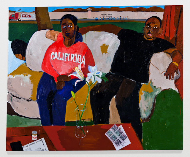 """Henry Taylor, """"Resting"""" (2011), acrylic and collage on canvas, 64 x 77 3/4 inches (photo by Josh White)"""