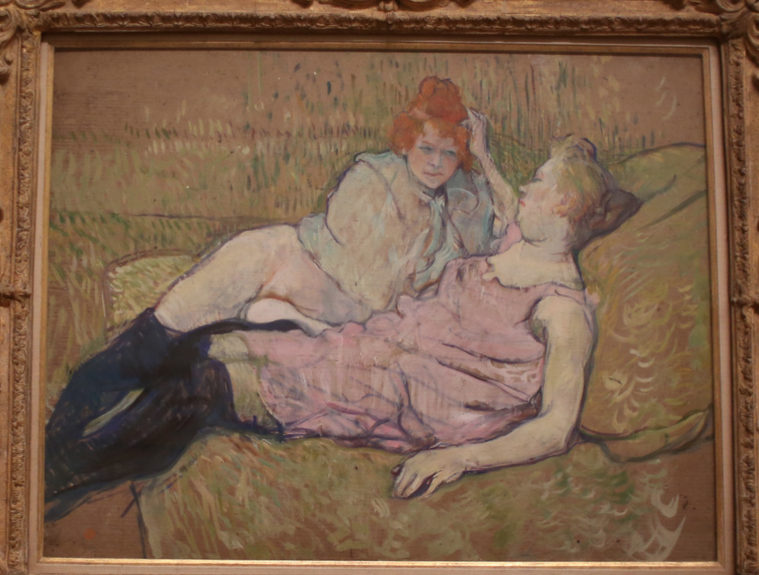 "Henri de Toulouse-Lautrec's ""The Sofa"" (c.1894–96) (photo by the author for Hyperallergic)"