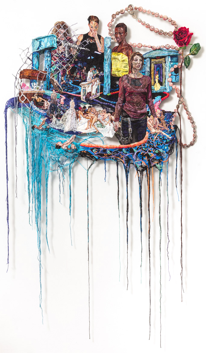 "Sophia Narrett, ""Something Went Wrong"" (2014–15), embroidery thread and fabric, 59 x 35 in (image courtesy Arts+Leisure) (click to enlarge)"