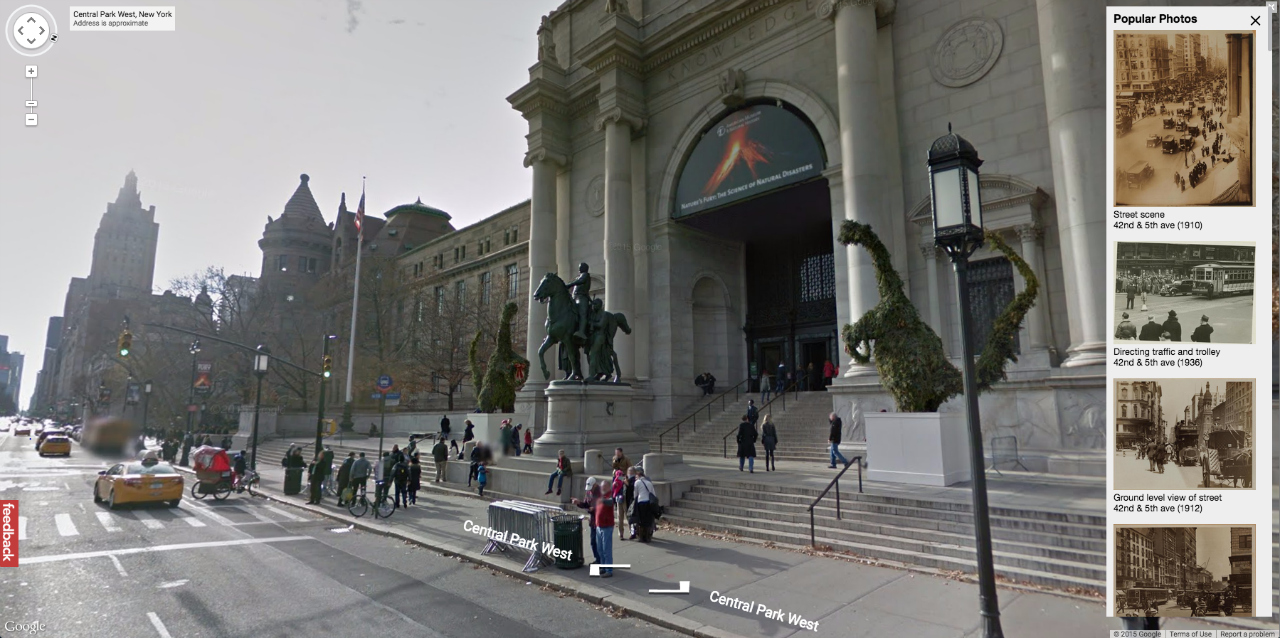 The American Museum of Natural History today on Google Maps
