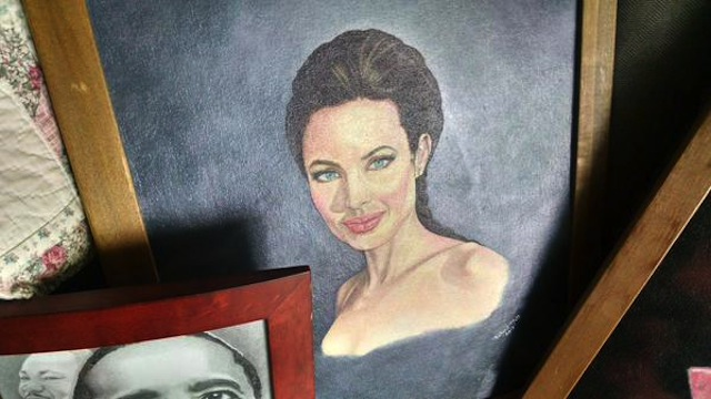 A painting of Angelina Jolie by prison escapee Richard Matt (Image via Twitter)