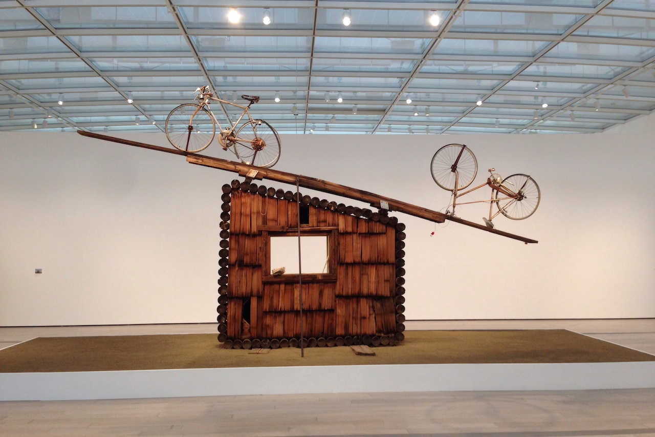 """Noah Purifoy, """"No Contest (bicycles)"""" (1991), assemblage sculpture, 168 x 252 x 24 in. (photo by Matt Stromberg/Hyperallergic)"""