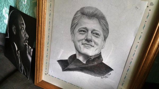A drawing of Bill Clinton by prison escapee Richard Matt (Image via Twitter)
