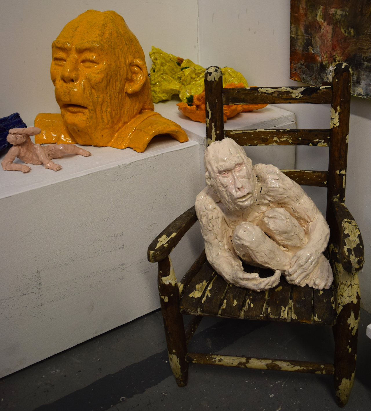 Ceramic sculptures by Dasha Bazanova in studio 216 at 1717 Troutman
