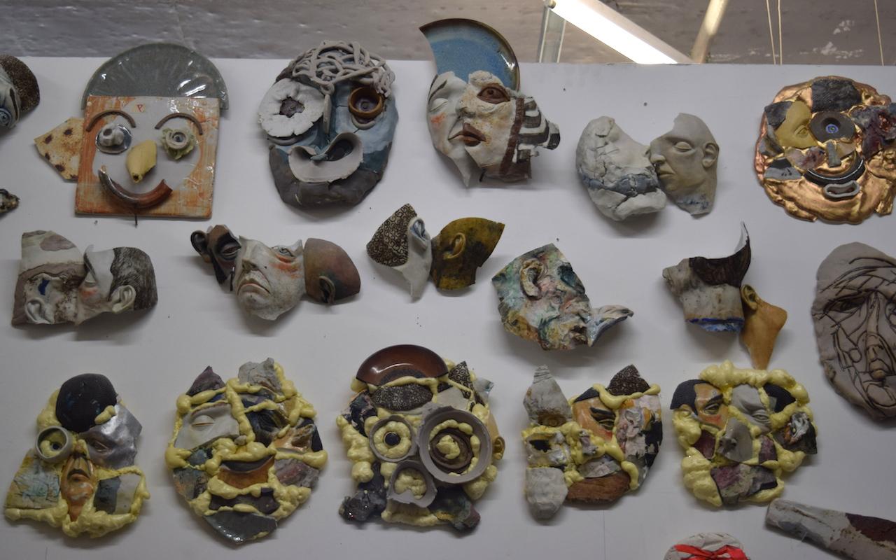 Sculptures by Amy Derek Weisberg in his studio (#327) at 1717 Troutman