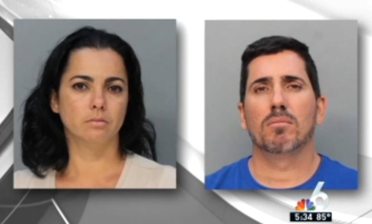 Alleged art thieves Raluxi Raul Erbiti and Dania Rojas (screenshot via NBC 6 South Florida)