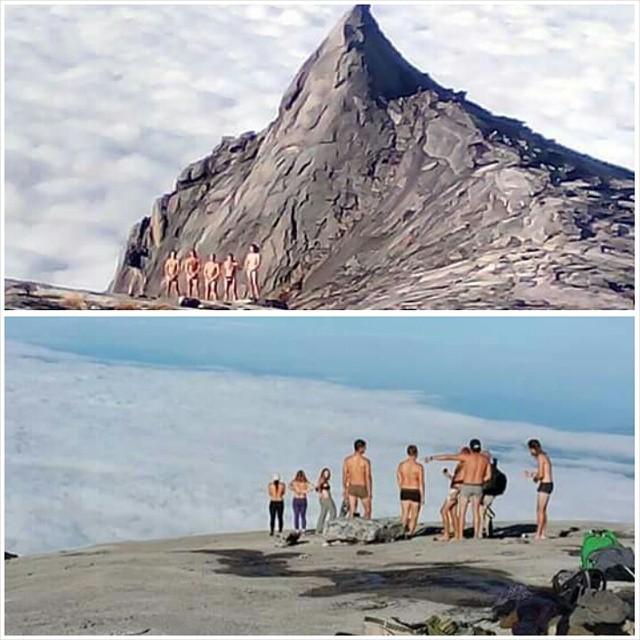 Tourists posing naked on Mount Kinabalu in Malaysia (photo via rosenorriah/Instagram)