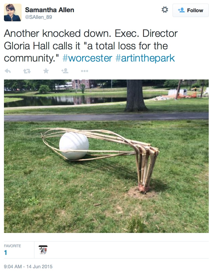 One of the damaged 'Art in the Park' sculptures in Worcester (via Samantha Allen/Twitter)