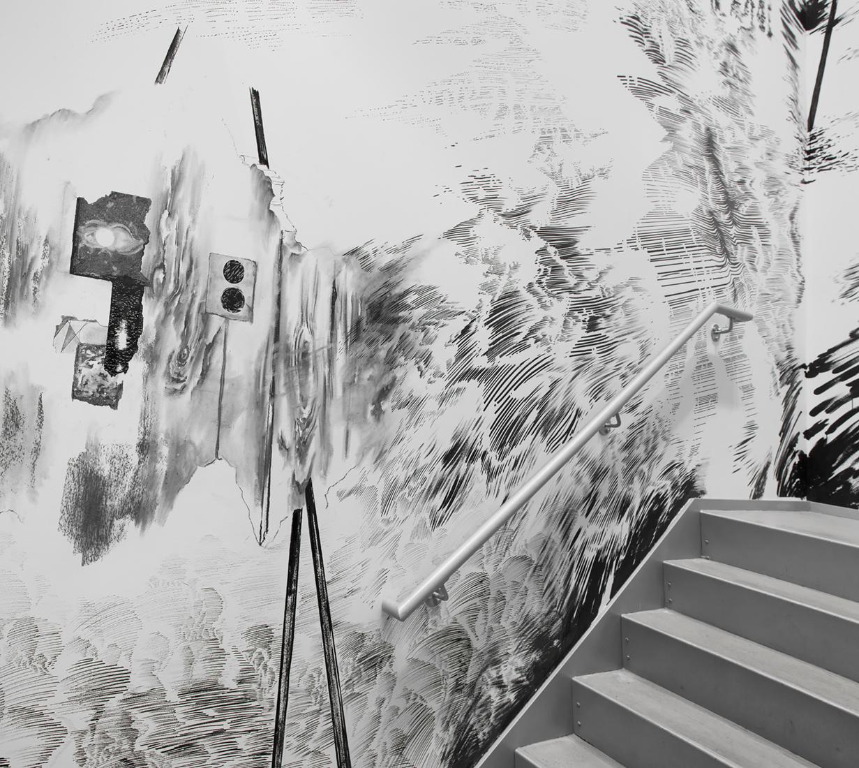 "Abdelkader Benchamma, ""Representation of Dark Matter"" (2015), installation view (Jose Andres Ramirez/Courtesy of The Drawing Center)"