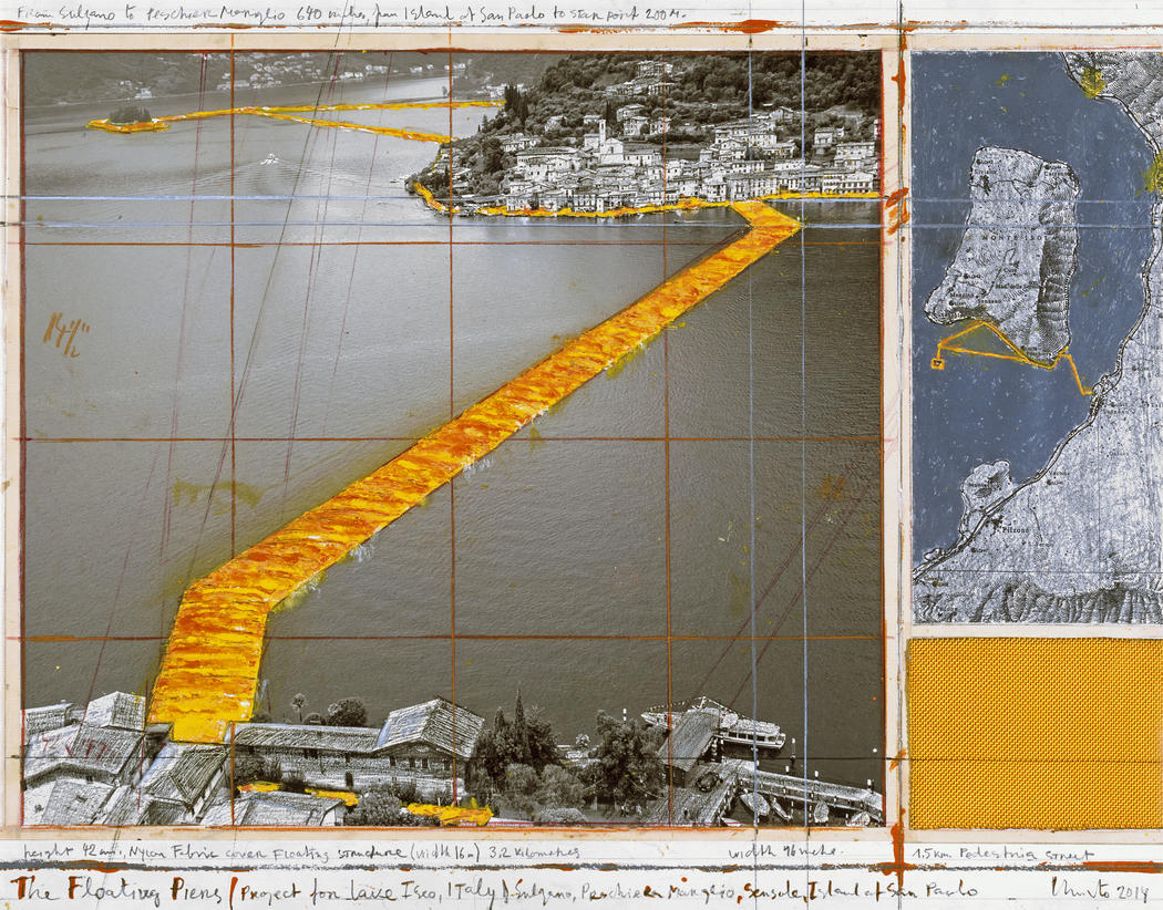 """Christo, """"The Floating Piers (Project for Lake Iseo, Italy)"""" (2014), collage, 17 x 22"""" (43.2 x 55.9 cm), Pencil, wax crayon, enamel paint, photograph by Wolfgang Volz, map, fabric sample and tape (Photo: André Grossmann © 2014 Christo)"""
