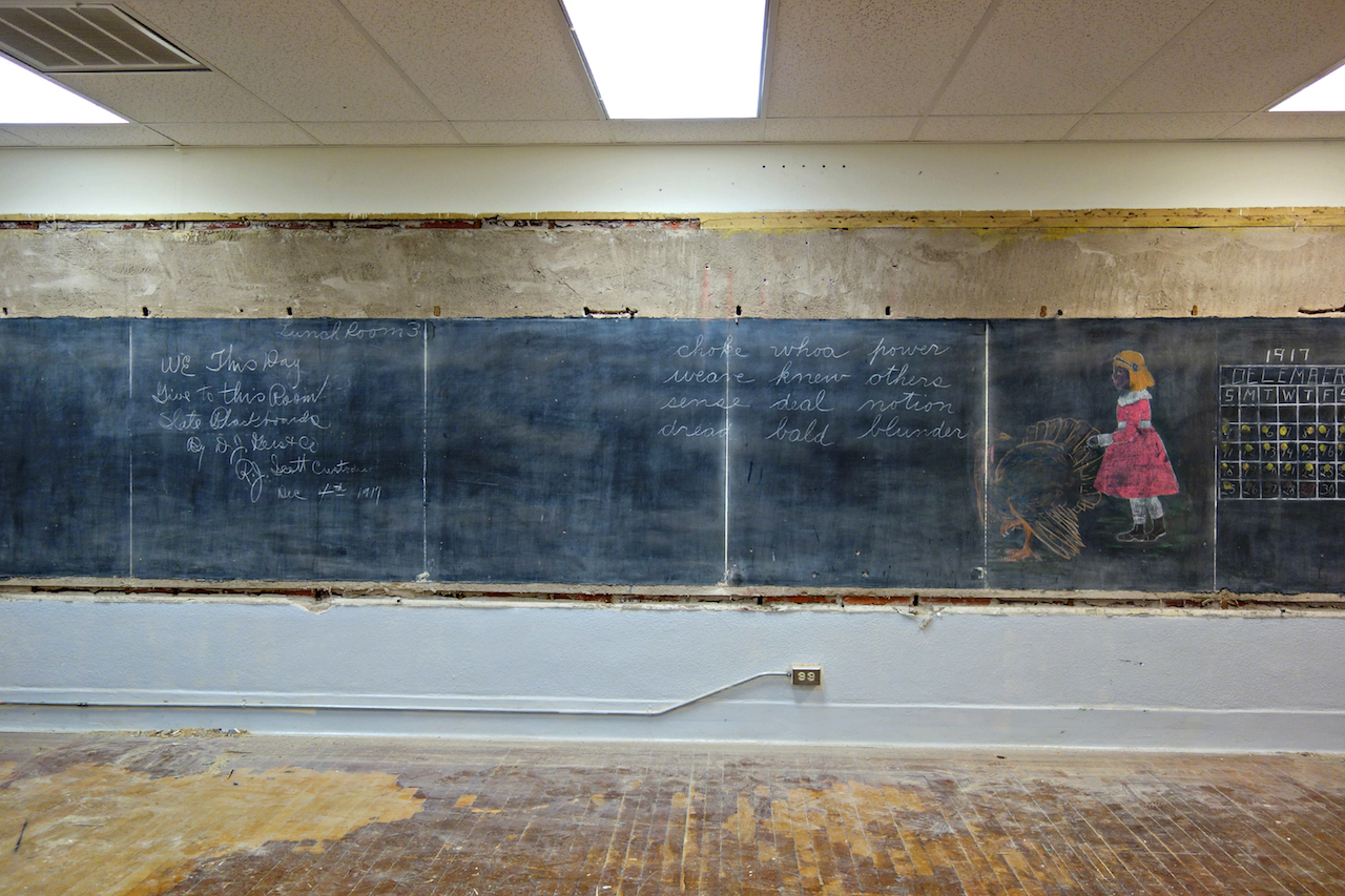 Some of the 1917 chalkboard drawings discovered last June (photo by the author for Hyperallergic)