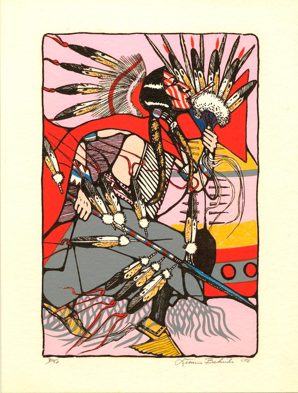 "Dennis Belindo (U.S., Kiowa/Navajo; 1938-2009), ""Kiowa Blackleggins"" (1990), serigraph,14 3/4 x 11 in. (courtesy Fred Jones Jr. Museum of Art, The University of Oklahoma, Norman; & the artist's estate)"
