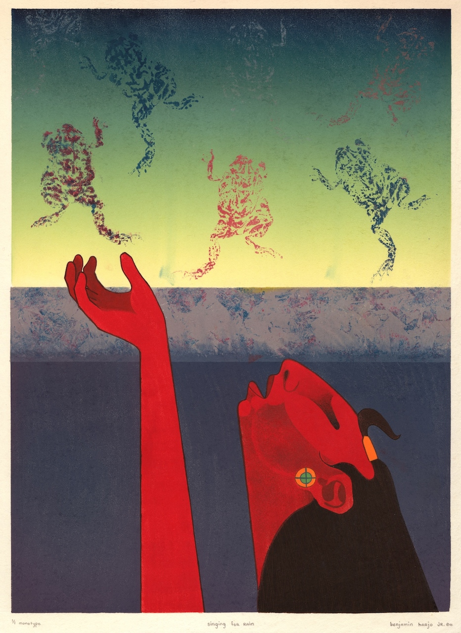 "Benjamin Harjo, Jr., (U.S., Seminole/Shawnee; b. 1945), ""Singing for the Rain"" (1993), monotype,23 x 17 in.(courtesy Fred Jones Jr. Museum of Art, The University of Oklahoma, Norman; & the artist)"