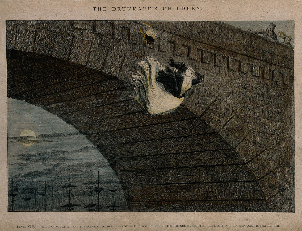 """George Cruikshank, A destitute girl throws herself from a bridge, her life ruined by alcoholism"""" (1848) (© Wellcome Library, London)"""