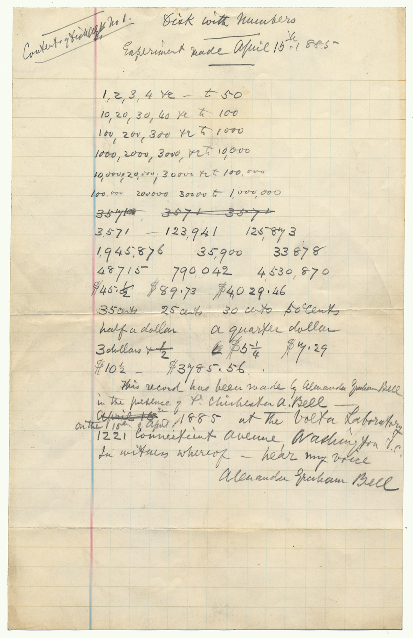 Handwritten list of numbers, witnessed by Alexander Graham Bell on 15 April 1885. Unregistered item, reference material. Cropped by DAMPP staff for Web use. Transcript of Alexander Graham Bell's voice disc