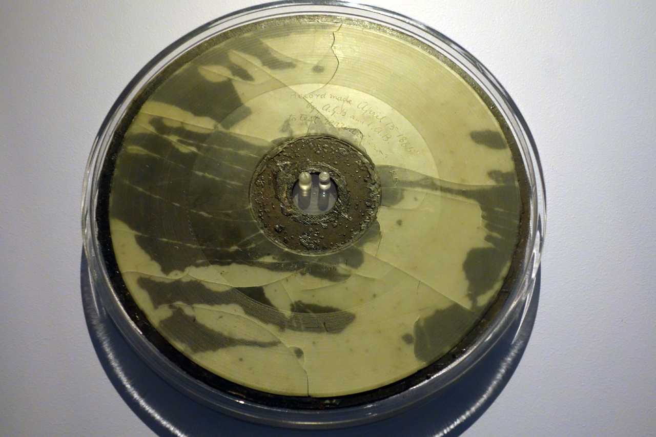 Experimental wax disc with the only confirmed recording of the voice of Alexander Graham Bell (1885) (photo by the author for Hyperallergic)