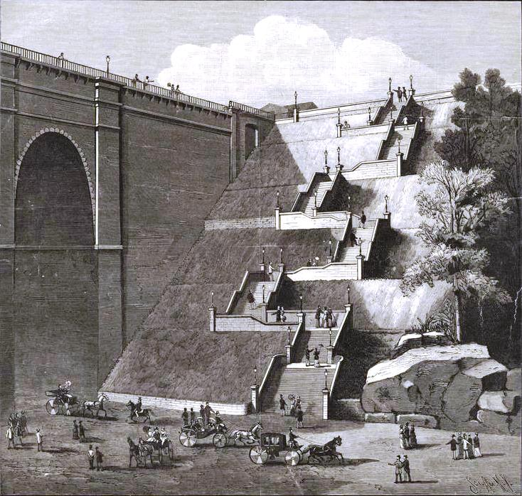 Stone steps at Highbridge Park, leading down to the Harlem River Speedway (1886) (via Scientific American)