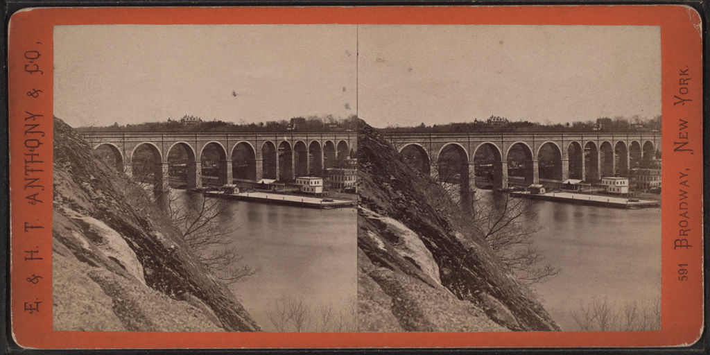 Stereocard of High Bridge from the East, prior to its replacement of the Manhattan-side arches with the steel bridge (via New York Public Library)