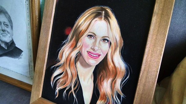 A painting of Julia Roberts by prison escapee Richard Matt (Image via Twitter)