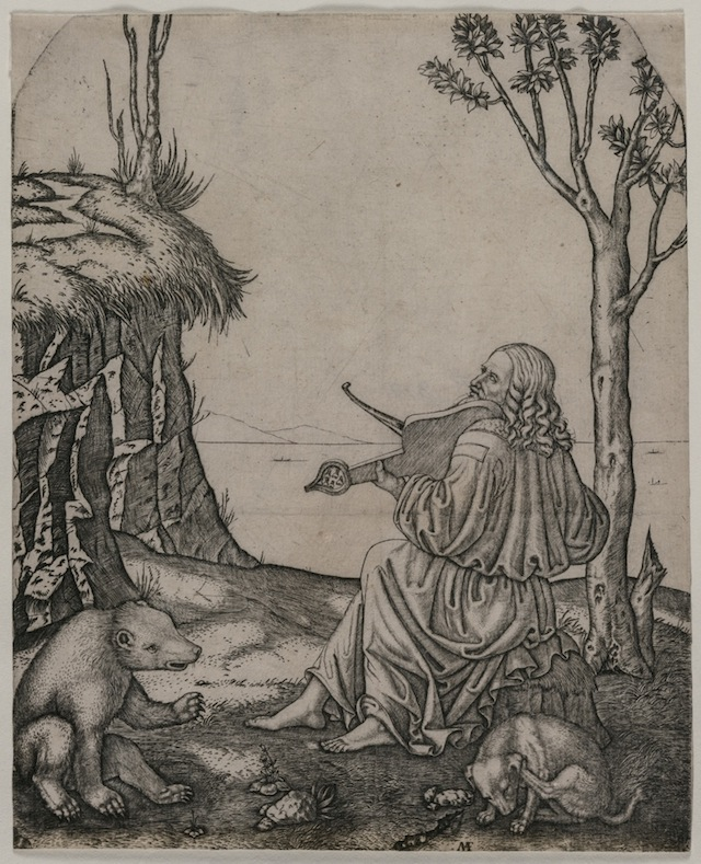 This engraving, created by Marcantonio Raimondi around 1505, may show Leonardo da Vinci playing an instrument called a lira da braccio. The man in the engraving was thought to be Orpheus, a musician in Greek mythology. Credit: Image courtesy Cleveland Museum of Art, 21.4 x 17.3 cm. Dudley P. Allen Fund 1930.579
