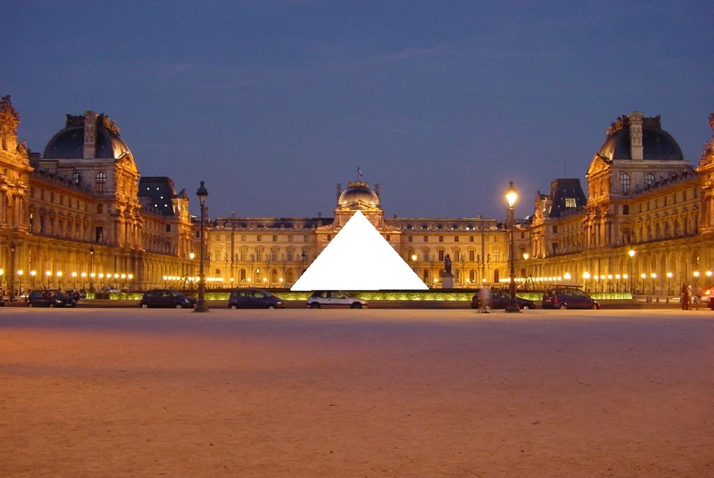 The Louvre at night, with the Pyramid censored (altered by 84user from a FOLP photo on Wikimedia)