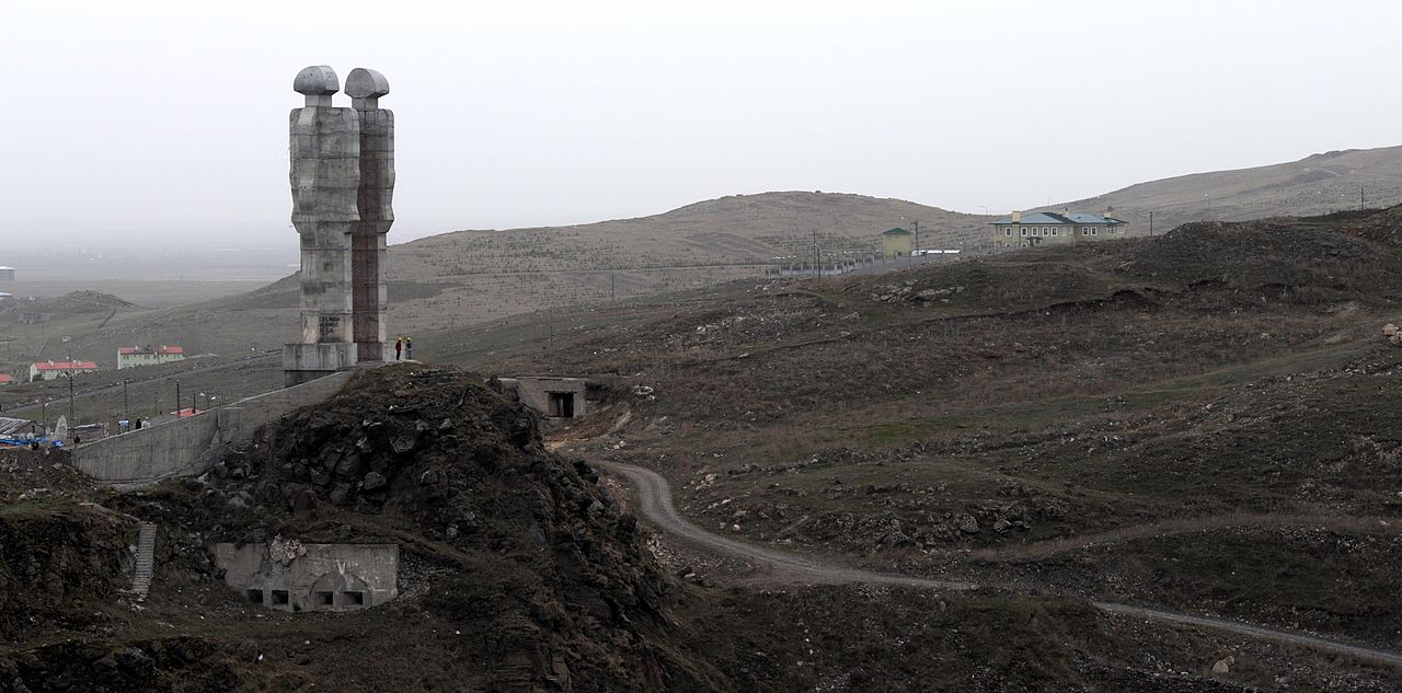 """Mehmet Aksoy's unfinished """"Monument to Humanity"""" in Kars, Turkey (photo by Ggia, via Wikimedia Commons)"""