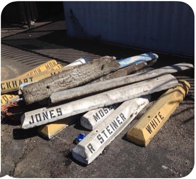 Remnants of the USC Roski School Parking Spaces (via Frances Stark's instagram)
