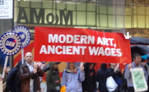 Post image for Facing Healthcare Cuts, Museum of Modern Art Staff Protest Outside Fundraising Gala