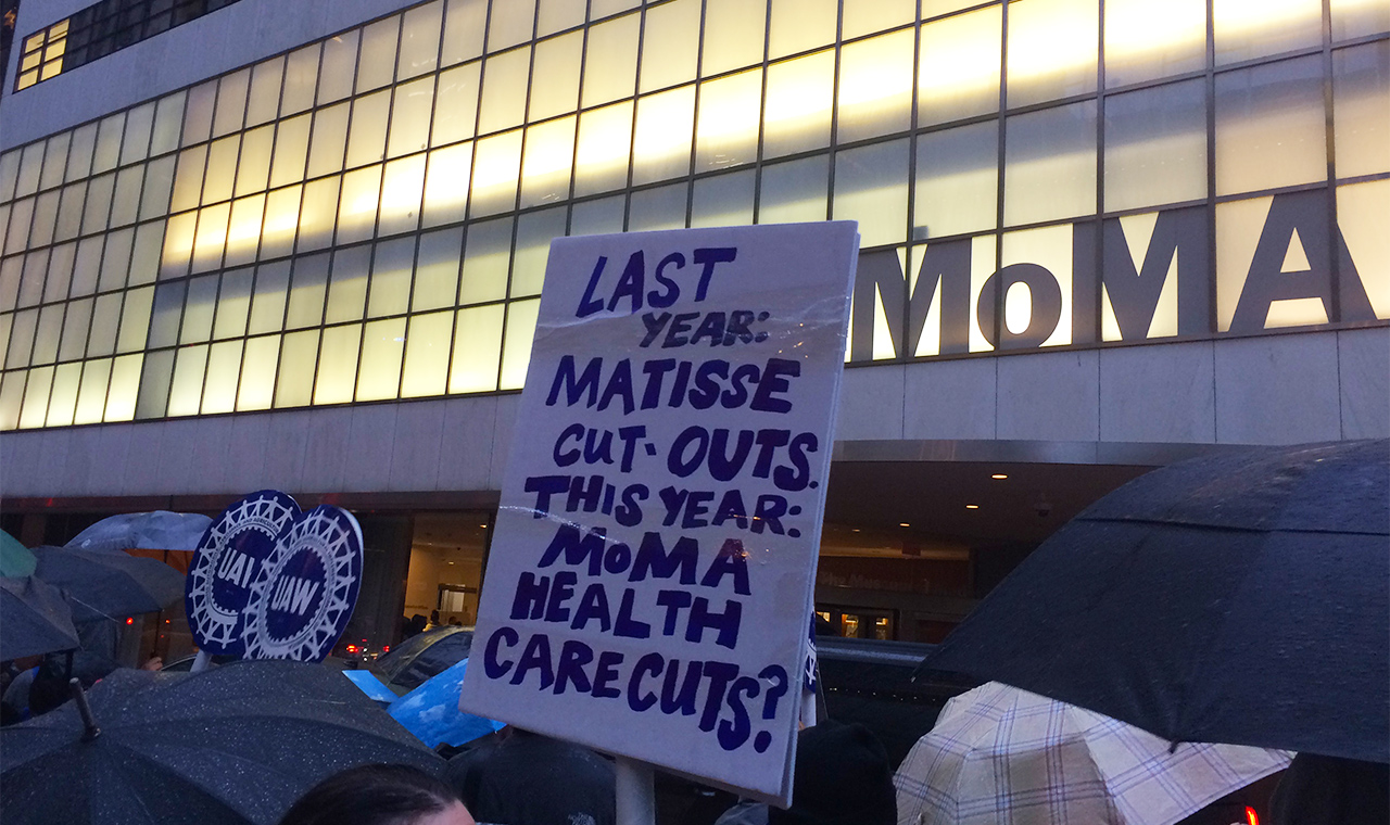 MoMA workers protesting outside the museum on June 2 (photo by the author for Hyperallergic)
