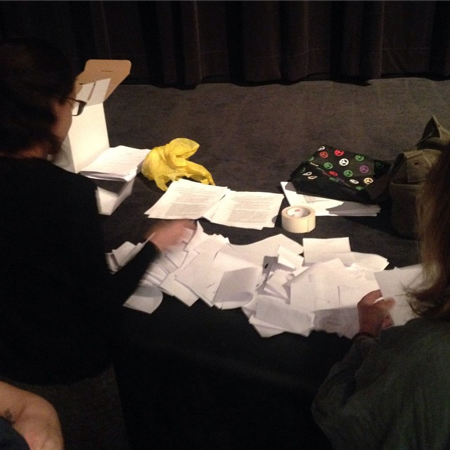MoMA's Local 2110 members counting votes for and against the contract offered by the museum. (photo by MoMA Local 2110/Instagram)
