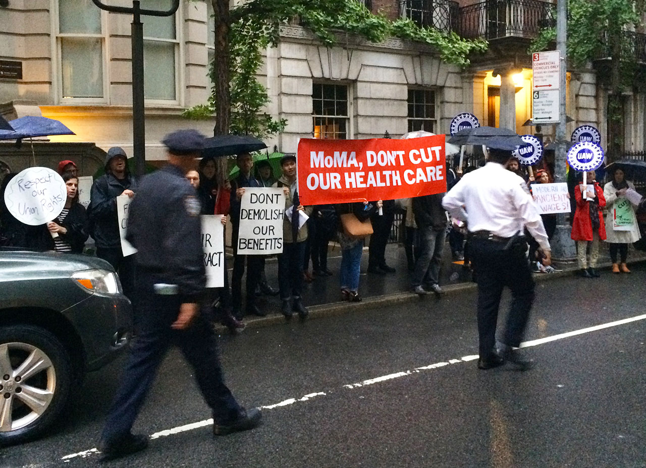 Museum of Modern Art employees and supporters protesting outside the museum on June 2, 2015. (photo by the author for Hyperallergic)