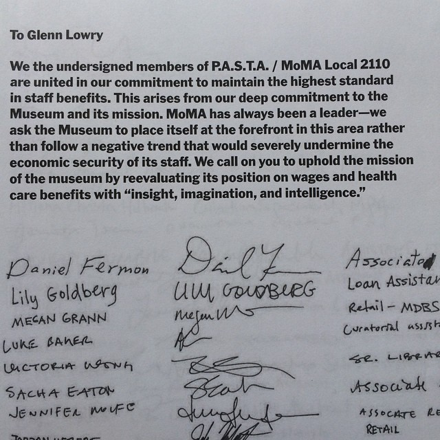 The open letter MoMA's Local 2110 members delivered to museum director Glenn Lowry this morning. (photo by MoMA Local 2110/Instagram)