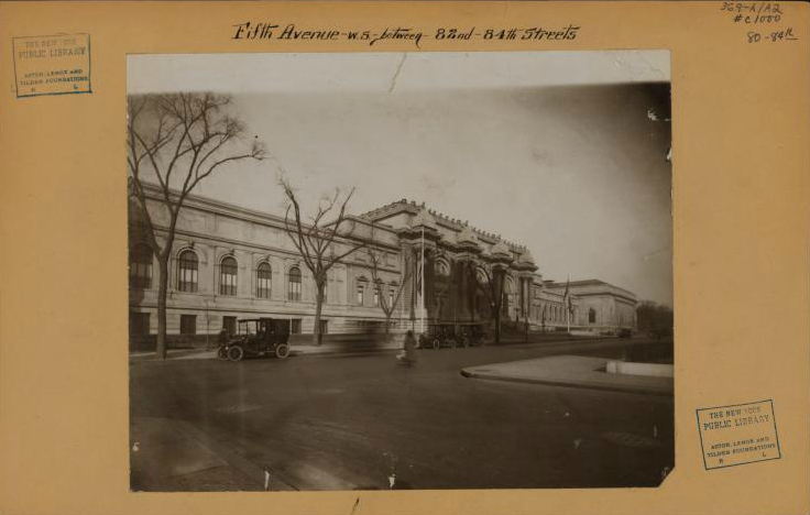 View of the Metropolitan Museum of Art on Fifth Avenue at 82nd Street (1915) (Irma and Paul Milstein Division of United States History, Local History and Genealogy, The New York Public Library)