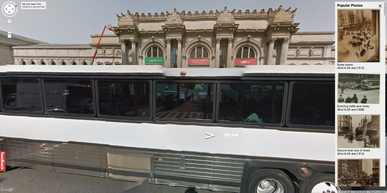 Metropolitan Museum of Art today on Google Maps (heavily obscured by what seems to be an empty tour bus)