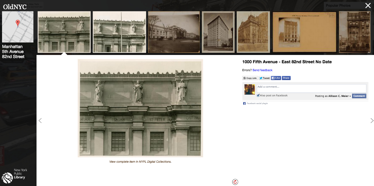 Screenshot of OldNYC showing archive NYPL images of the area around the Metropolitan Museum of Art