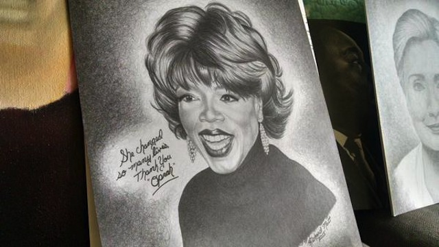 A drawing of Oprah by prison escapee Richard Matt (Image via Twitter)