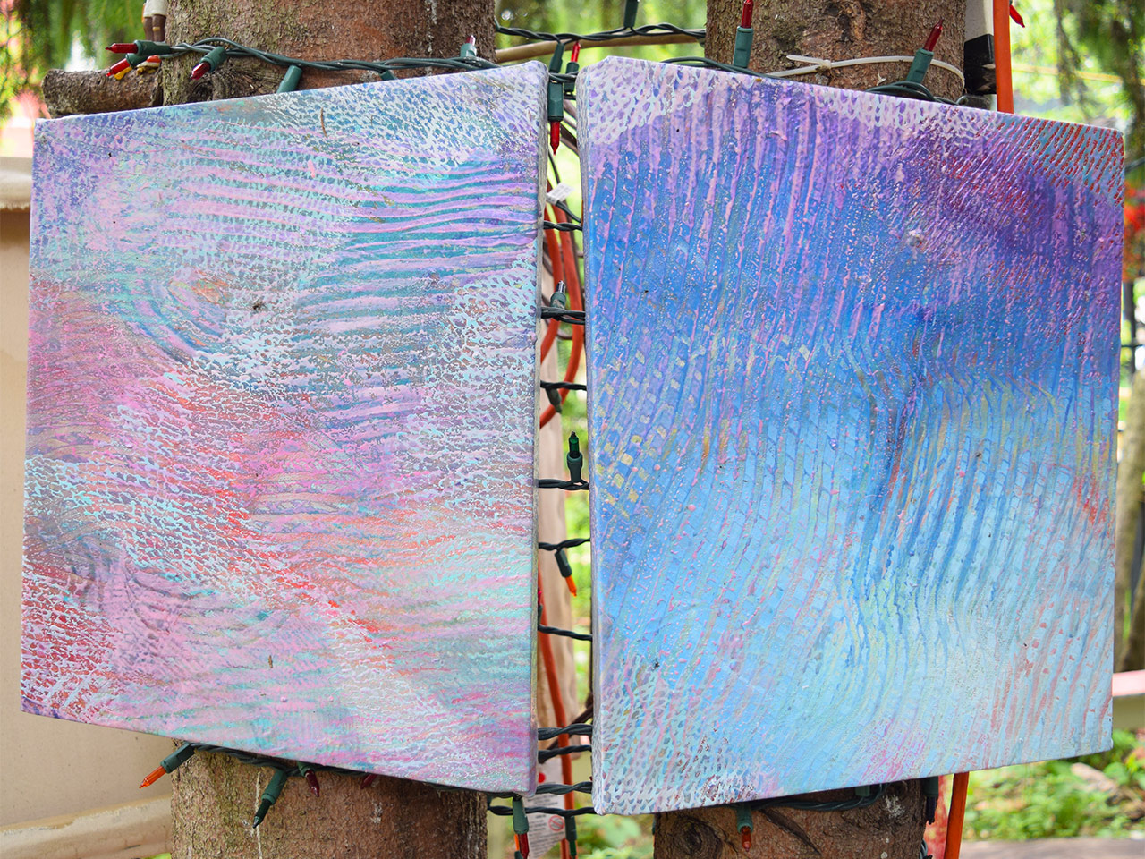 Two-panel painting by Theresa Dadezzio