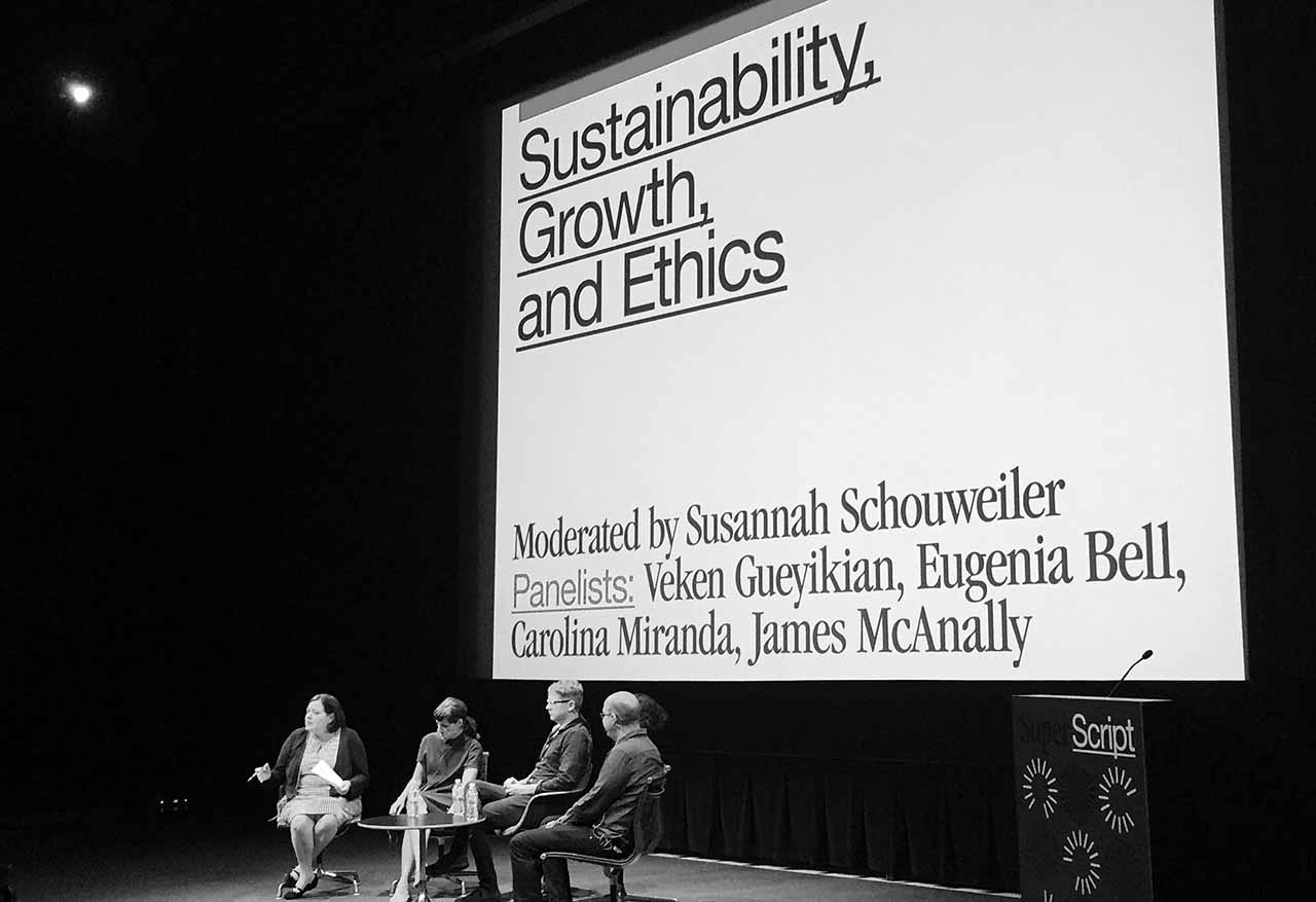 "Conference co-organizer Susannah Schouweiler moderates a discussion during the ""Sustainability, Growth, and Ethics"" panel at Superscript. (photo by the author for Hyperallergic)"