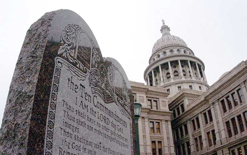 Ten Commandments on the grounds of the Texas State Capitol in Austin (Texas Attorney General, via Wikimedia)