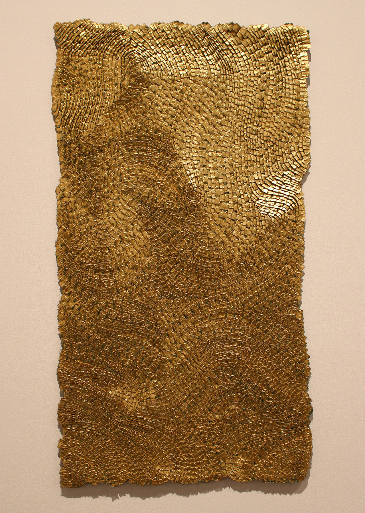 """Olga de Amaral, """"Strata XI"""" (2008), linen, gesso acrylic, and gold leaf, from 'GOLD' at the Neuberger Museum of Art"""