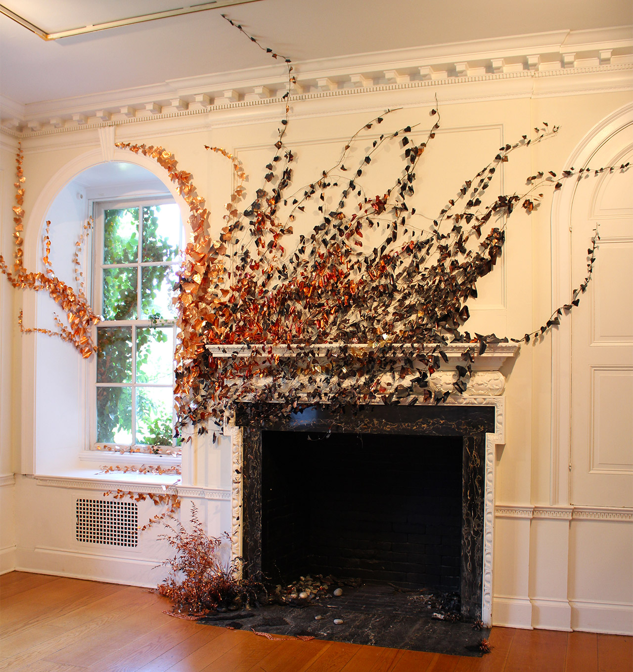 """Anne Peabody, """"Wildfire"""" (2015), copper, wood, and glass from 'Wrath' at Wave Hill"""