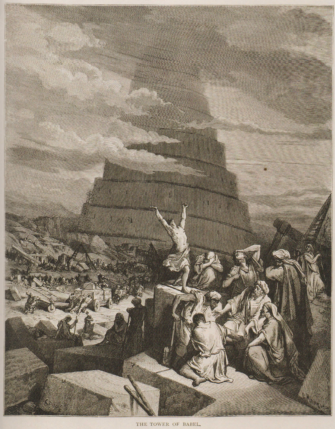 """Gustave Doré, """"The Tower of Babel"""" (1880), engraving, from 'Pride' at the Bruce Museum"""