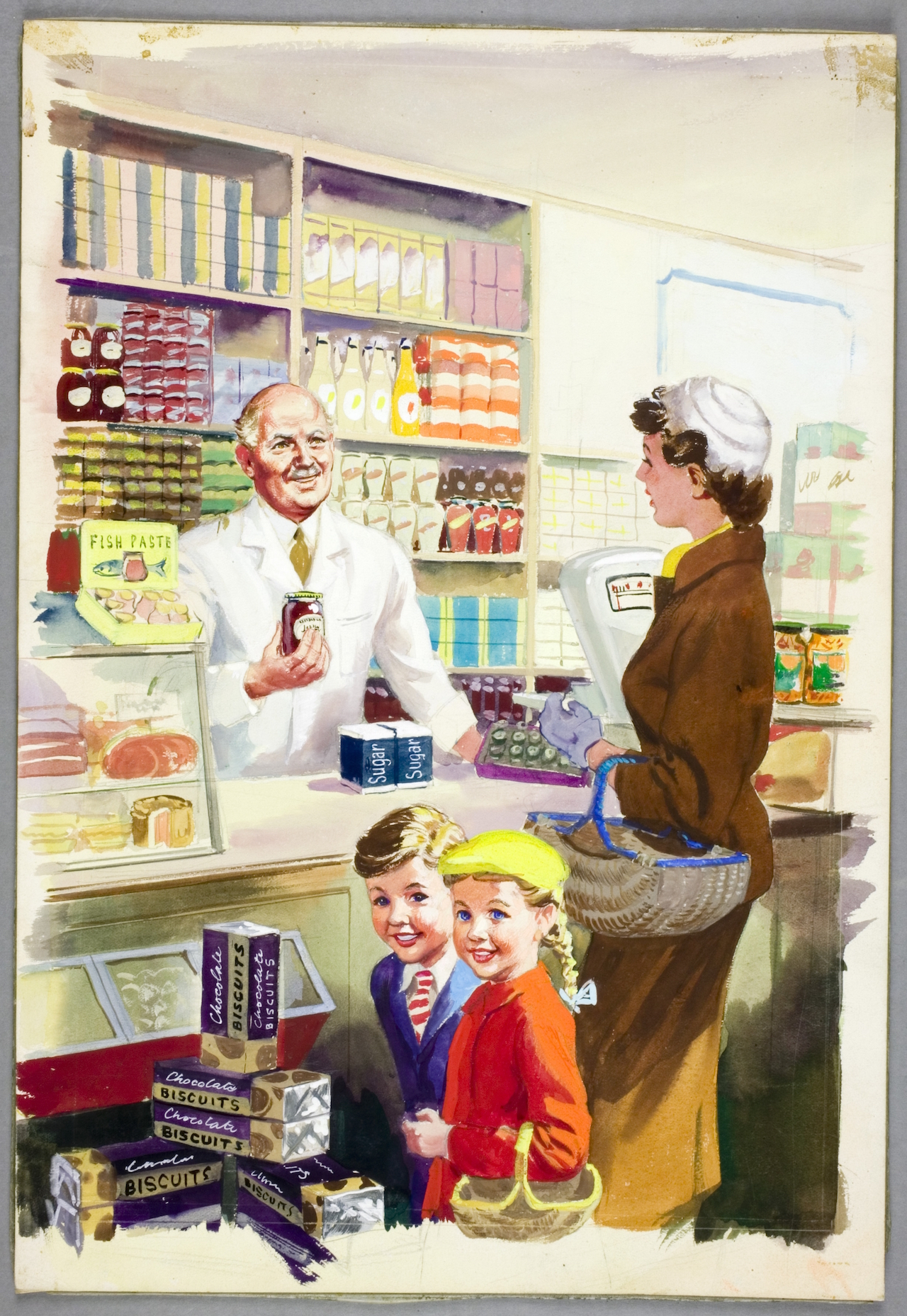"""Harry Wingfield, """"Shopping with Mother,"""" (1958) (click to enlarge)"""