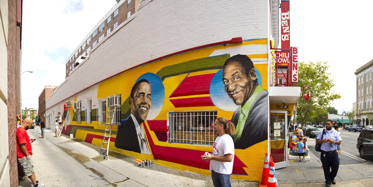 An image of the mural being created. Photograph by Flickr user thisisbossi.