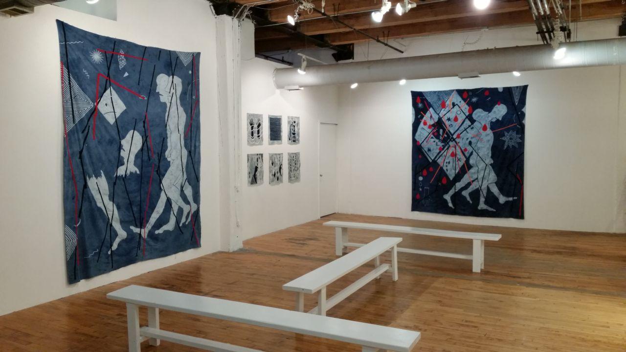 Installation view, 'Jovencio de la Paz: Endless Flight' at Threewalls