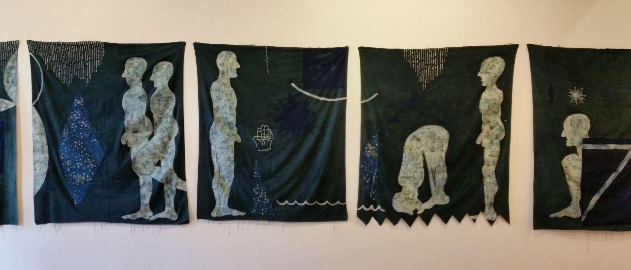 """Jovencio de la Paz, """"Pentagonia"""" (detail), batik, natural indigo and applique on cotton, each one 52"""" x 42"""""""
