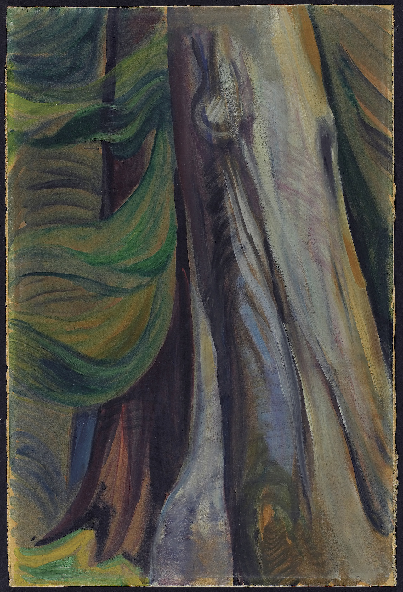 """Emily Carr, """"In the Forest, B.C."""" (1935), oil on paper, mounted on multi-ply paperboard, overall: 45.8 x 30.2 cm (courtesy the Art Gallery of Ontario, bequest of Professor Kathleen Coburn, 2004)"""